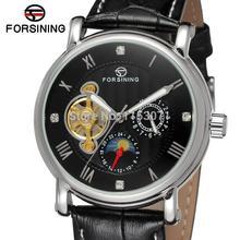 FSG800M3S4 Forsining марка Автоматические часы с фазы луны подарочной коробке бесплатная доставка способа высокого качества платье часы