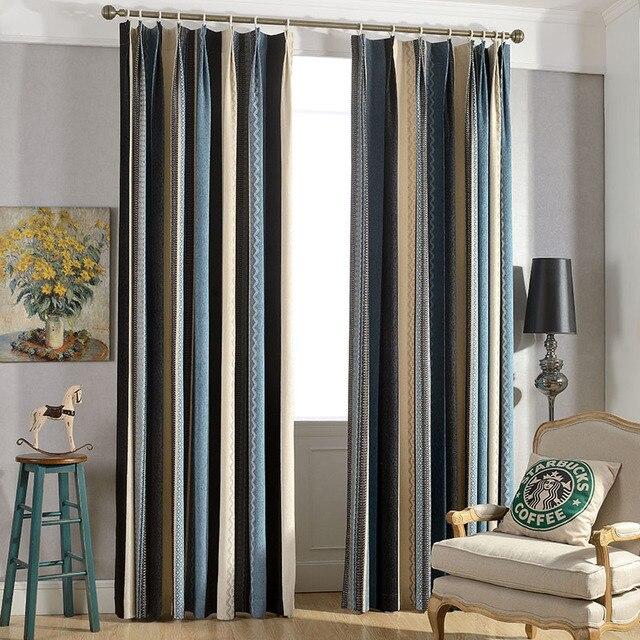 mediterraneo strisce finestra più spessa panno tende oscuranti per ... - Tende A Strisce Moderne
