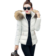 2017 Winter Women Warmth Down Jacket Cotton Slim Hooded fur collar coat Female White Thickened Parkas Coat Snow Wear Plus Size