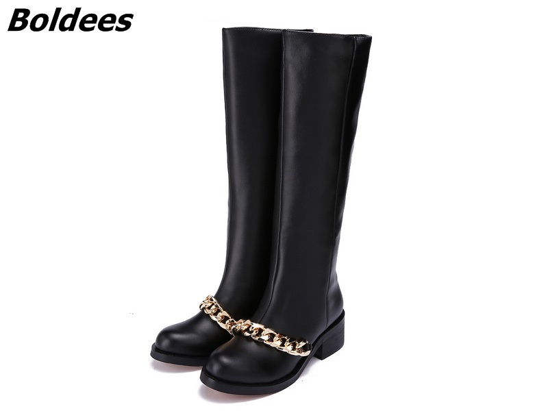Fashion Women Zipper Booties Round Toe Low Chunky Heeled Motorcycle Boot Black Leather Gold Silver Chain Ankle Boots vinlle women boot square low heel pu leather rivets zipper solid ankle boots western style round lady motorcycle boot size 34 43