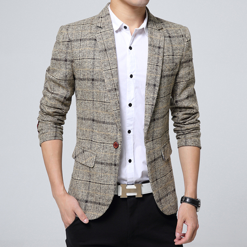 2019 Men's Suit British Wind Checked Dress Cultivate One's Morality Youth West Green BLAZER