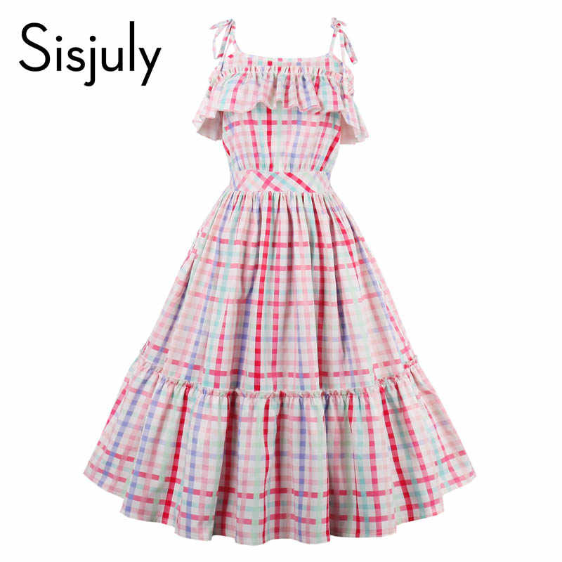 834afbc2a8e Sisjuly women vintage dress 1950s luxury plaid sleeveless retro ruffle collar  dresses summer female multi color