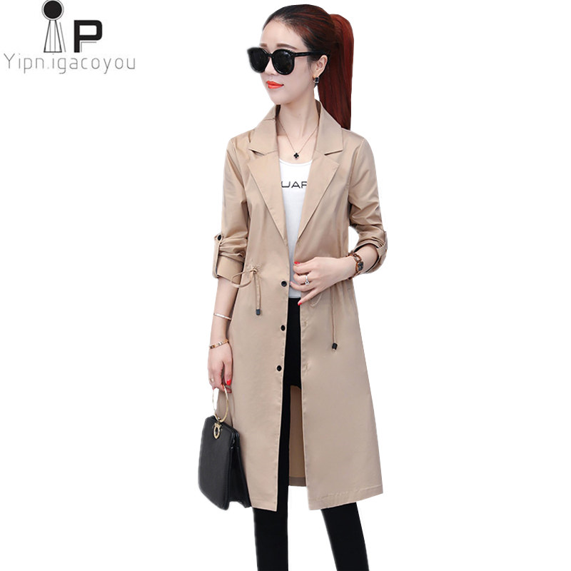 Spring Long Coat Womens Windbreakers 2018 Korean Female Thin Big Size   Trench   Coat Women Overcoat Harajuku Elegant Female Coats