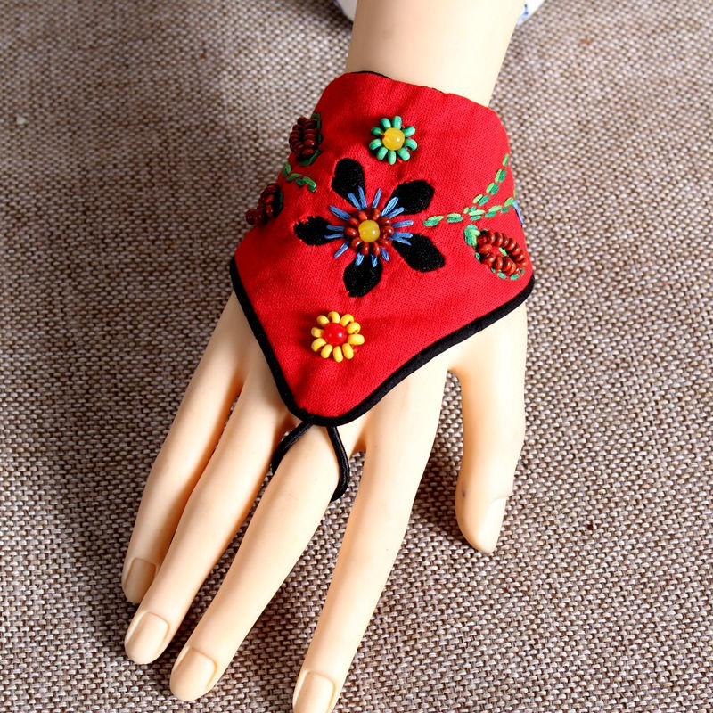 Ethnic Wind Embroidery Flowers Fingerless Gloves Fashion Joker Bracer Bracelet Dance Jewelry For Women 10