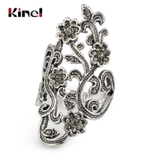 Kinel Graceful Antique Silver Crystal Flower Rings For Women Vintage Jewelry Mosaic Gray Crystal Big Ring Party Accessories graceful rhinestone faux crystal ring for women