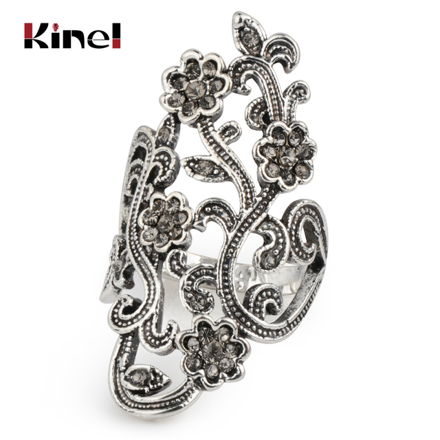 Kinel Graceful Antique Silver Crystal Flower Rings For Women Vintage Jewelry Mosaic Gray Crystal Big Ring Party Accessories