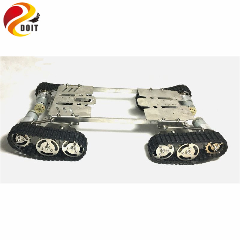 Official DOIT T700 Tank Robot DIY Chassis Smart Track with Two Carbon Brush Motor for Stainless Steel Tanks, four-wheel Drive tank robot diy chassis smart track with two carbon brush motor for arduino stainless steel tanks t100