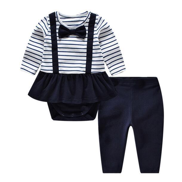 Auro mesa 100% algodão bebê recém-nascido conjunto de roupas meninas listrado bodysuit + pants doces bonitos do bebê meninas roupas