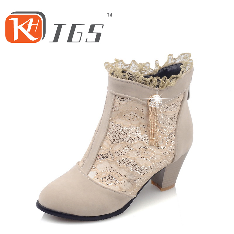 KHJGS Women Boots Wedge Concealed Heel High Top Platform Ankle Boots zip  Rhinestone Boots Zipper Shoes Size 35-39 nayiduyun women genuine leather wedge high heel pumps platform creepers round toe slip on casual shoes boots wedge sneakers