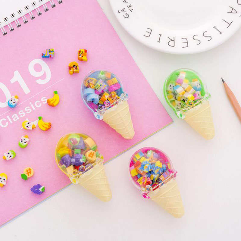 1 Pcs Novelty Cute Fruit Cuisine Ice Cream Shape Eraser Rubber Eraser Primary School Student Gift Stationery Tools
