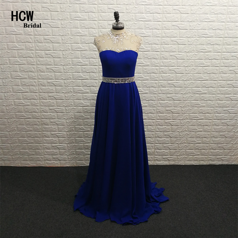 Royal Blue Long   Prom     Dresses   2019 Real Photos High Neck A Line Sheer Chiffon Rhinestones Luxury   Prom   Gowns African Party   Dress