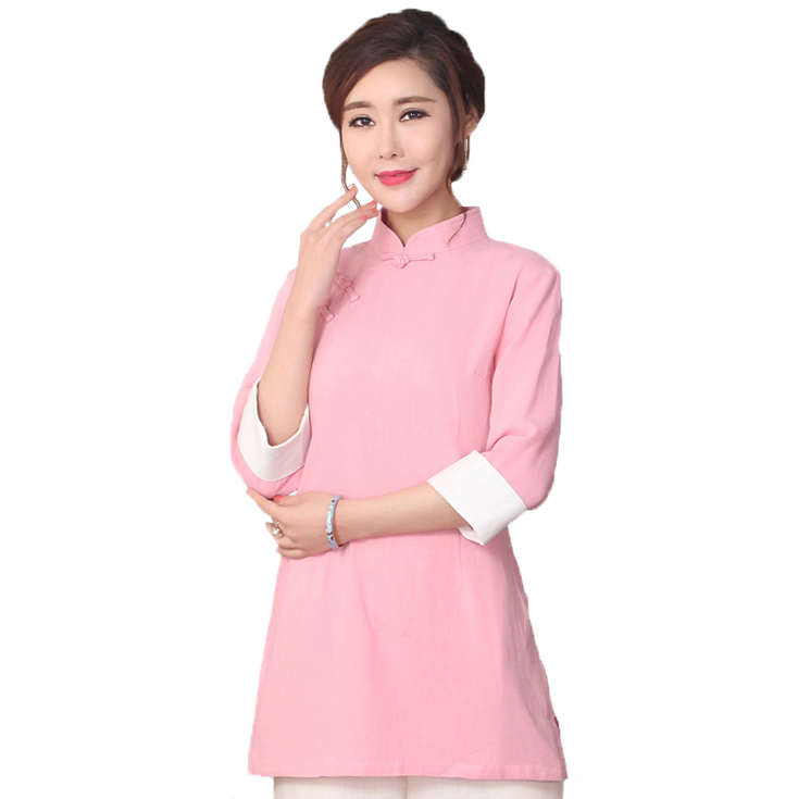 Long Style Pink Women Broadcloth Shirt Chinese Mandarin Collar Blouse Tops Female Autumn Clothing S M L XL XXL SG02