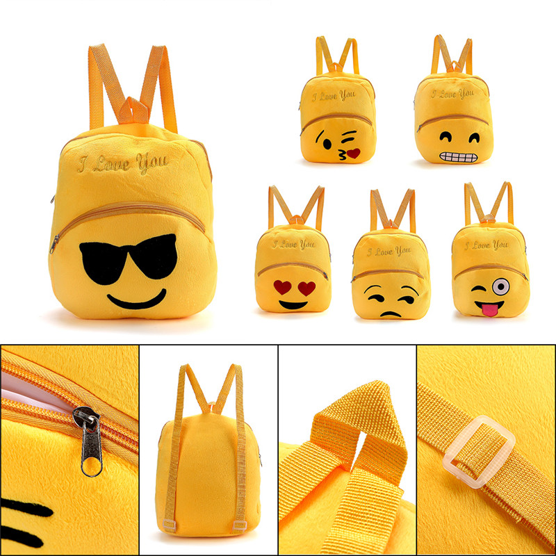 Cute Baby Bag Child School Shoulder Bag Emoji Emoticon Backpack Plush Toys