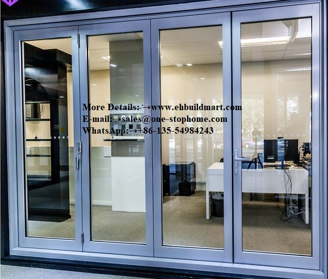 Porte bi-pliante en aluminium à réduction sonore, accordéon extérieur personnalisé, porte en verre trempé Double/Triple vitrage