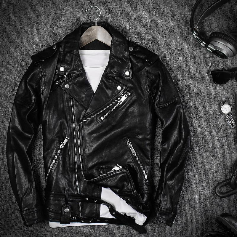 2018 Moto Rouge Vert Manteaux D'hiver Biker Vintage Manteau En Veste Mince rouge Cuir Hommes Noir Tanné Chèvre vert Noir rQxtsdhC