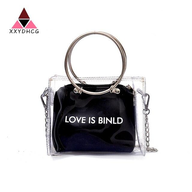 Fashion Laser Satchel Handbag Women Bag Clear Jelly Transparent PVC Bag  Candy Color Tote Bag Designer Purse Bolsa Crossbody Bag 6619e85e617ef