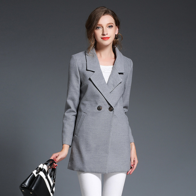 New 2015 Fashion Women Wool Coat Autumn Winter Pure Color Blazer ...
