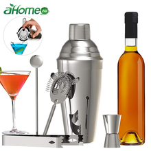 5 Pics Stainless Steel Bar set Cocktail Making Set Hand Shaker Kit with Strainers Measures Muddler Spoon