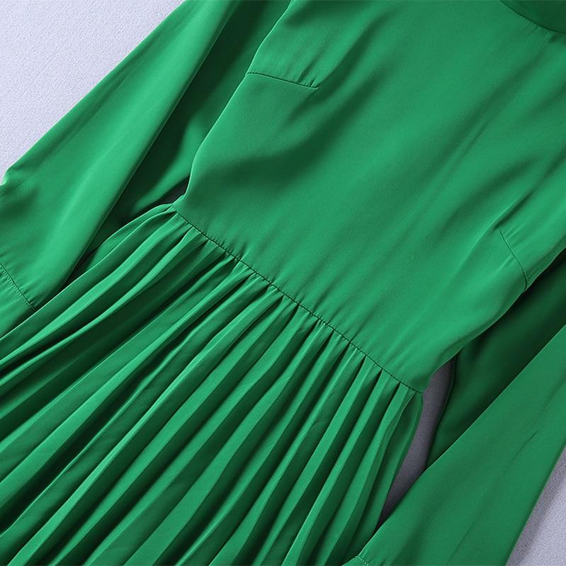 Manches Haut Mince Gamme Et Taille Plissée Nouveau Vert Automne Montant De Robe 2018 Robes Femmes Concepteur Col Américain Longues Européenne vYrwYCqT