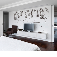 [ZOOYOO] Black birdcage leaves silhouette wall stickers 3d living room bedroom children decals murals self adhesive film