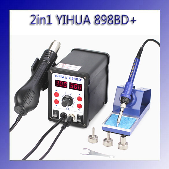 HOT 2 in 1 YIHUA 898BD+ SMD Electric Soldering Iron and Heat Hot air Gun Rework Solder Welding Station yihua 27 in 1 portable digital bga rework solder station hot air electric soldering iron electronic welding repair tools set