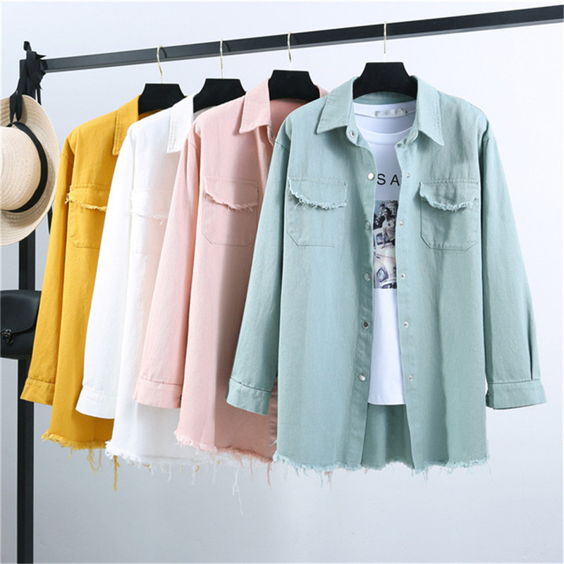 Spring Autumn New Long section lapel Tassel Denim Jackets women loose Casual Long Sleeve female's thin Basic Jacket Coats 546