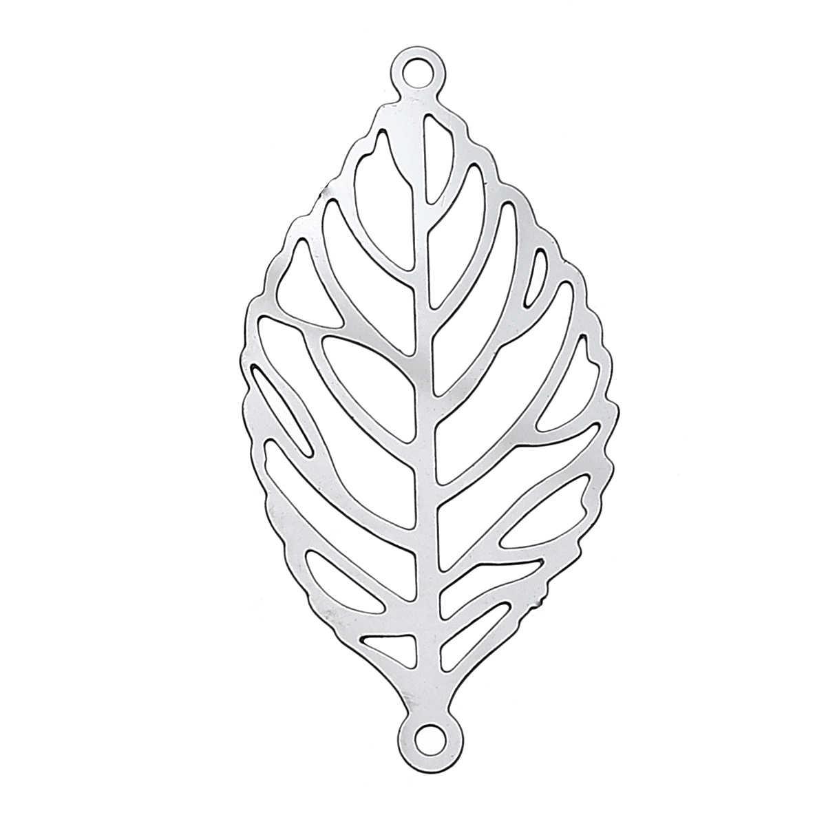 DoreenBeads Filigree สแตนเลส Connectors ผลการค้นหาเครื่องประดับ Leaf สี 30x15 มม.,รู: 1 มม.1 ชิ้น 2017 ใหม่