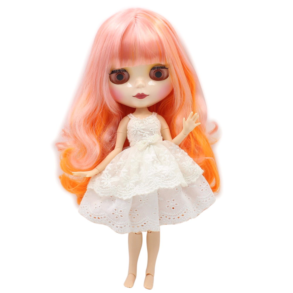 free shipping blyth doll icy licca body pink mix orange hair joint body SHINY FACE 1/6 30cm toy gift 1010/2250 цена и фото