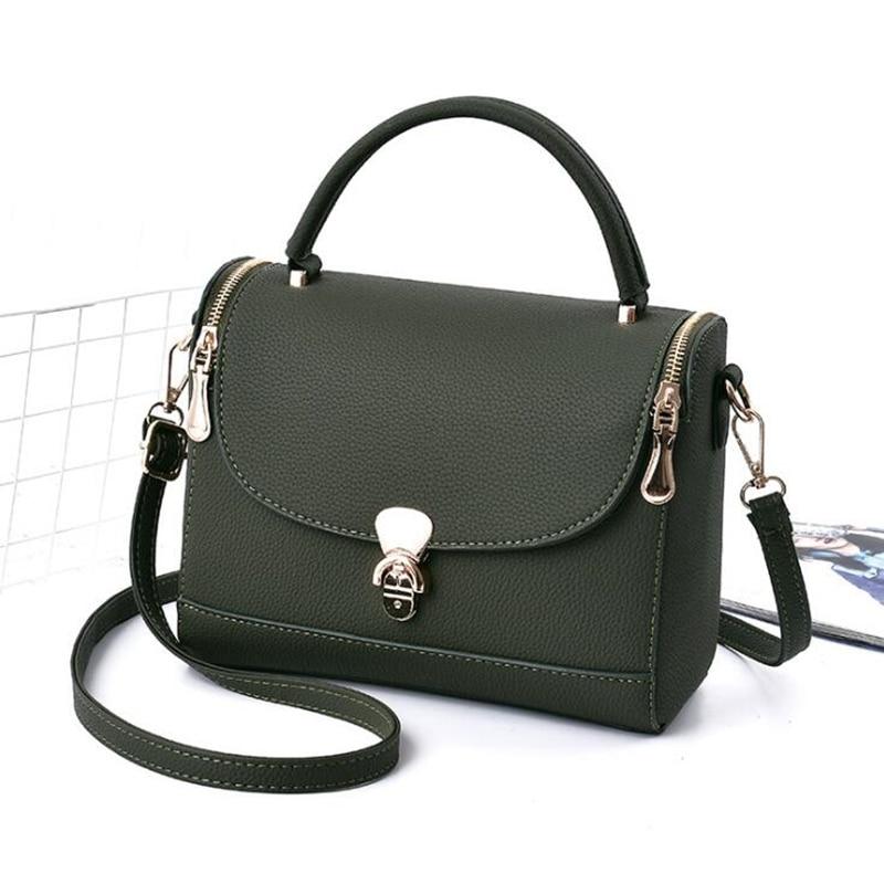 NEW Flap Double Zipper Solid Handbag PU Leather Women Messenger Bag Korean Fashion Shoulder Bags Hand Bag Sac Femme Handbags 2018 women s new handbags made of pu in korean version 3pcs handbag shoulder bag purse