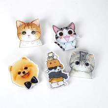 DoreenBeads Pet Series Acrylic Badges Japanese Style Cat Pins Brooch for T Shirt Collar Pants Jeans Sweater Coat Scarf Bag Decor(China)
