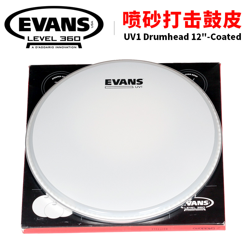 D'addario Evans 12 UV1 Coated Snare/Tom Batter Drum Head (B12UV1) Drumhead evans tt14g2 14 g2 clear snare tom timbale