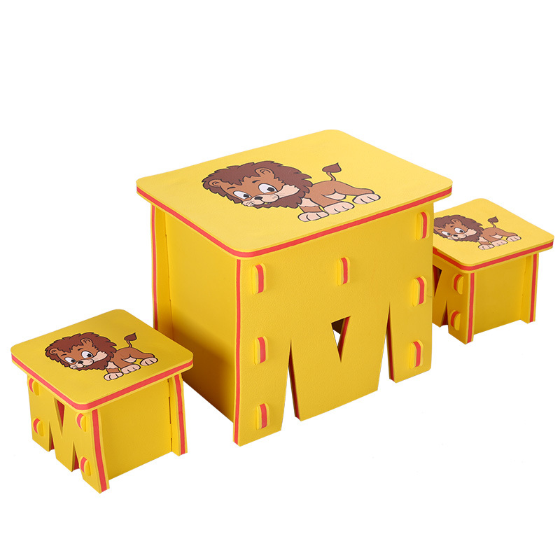 Children Baby Splicing Pe Plastic Small Desk And Chair, Foam Mat, Cartoon Small Table children desk and chair of learning table cartoon children table pure color table