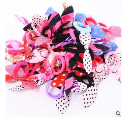 10Pcs/lot Children Hair Band Cute Polka Dot Bow Rabbit Ears Headband Girl Ring Scrunchy Kids Ponytail Holder Hair Accessories