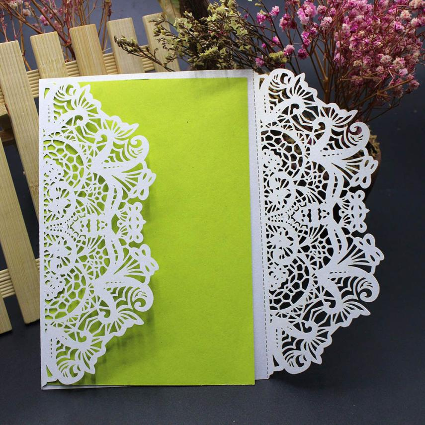 10Pcs White Hollow Art Craft Wedding Invitation Card Kit with Envelopes Seals Personalized Wedding Decoration Party Supplies