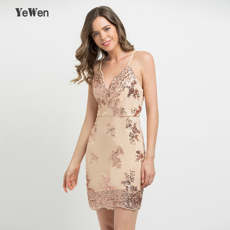 In Stock YeWen V Neck Spaghetti Strap Sequin Party Coctail   Dresses   Women Sexy Mesh Streetwear Short   Evening     Dress   2019 Vestido