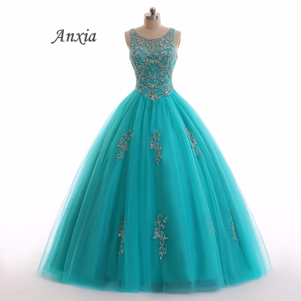 Real Photos Luxury Beaded Backless Green And Blue