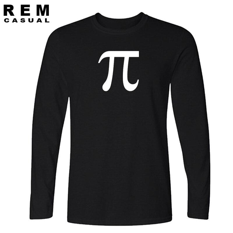 New Fashion T Shirts Pi Symbol Tshirts Cotton Pi Day Geek Nerd Math College Funny Long sleeve T-shirts