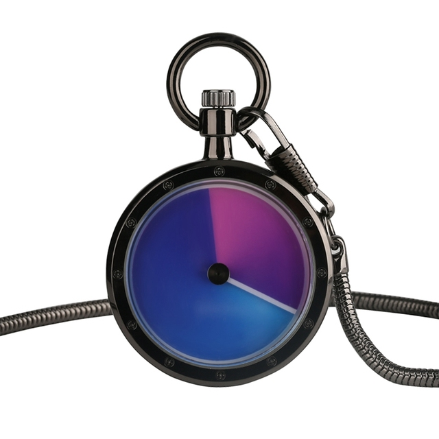 New Arrival Cool Blue Purple Quartz Pocket Watches Creative Fob Watch Gift for W