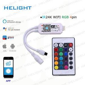 Image 3 - DC12 28V мини WIFI RGB/RGBW контроллер полосы музыкальный контроллер Alexa Google домашний телефон WIFI контроллер для полосы светильник