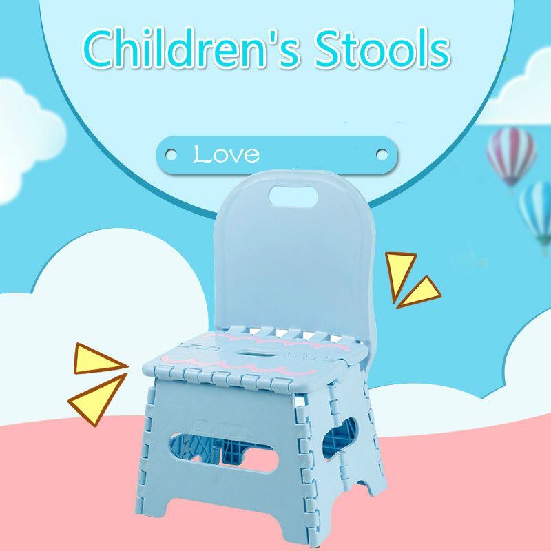 Baby Folding Chair Backrest Cartoon Children Portable Plastic Small Stool Mini Cute Toddler Chair Portable Chair