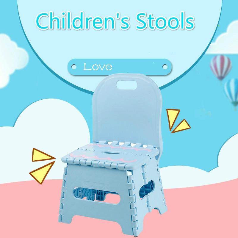 Baby Folding Chair Backrest Cartoon Children Portable Plastic Small Stool Mini Cute Toddler Chair Portable Chair