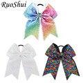 3pcs 7Inch Sequin Hairbow Glitter Grosgrain Ribbon Bow Elastic Band Ponytail Hair Holder Cheerleading Bows For Girls/Women