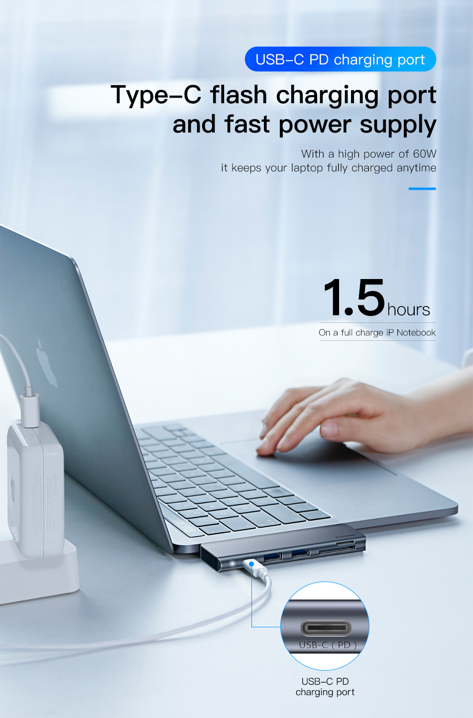 Baseus Gray 5 in 1 HUB Adapter USB Type C to USB 3.0*2 / SD / TF for Macbook Pro