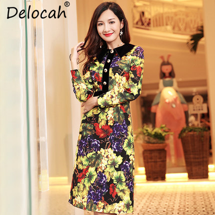 91d5826f9d7 Delocah Elegant Women Autumn Winter Dress Runway Fashion Designer Velvet  Patchwork grape Print Slim Vintage Dress Vestidos-in Dresses from Women's  Clothing ...