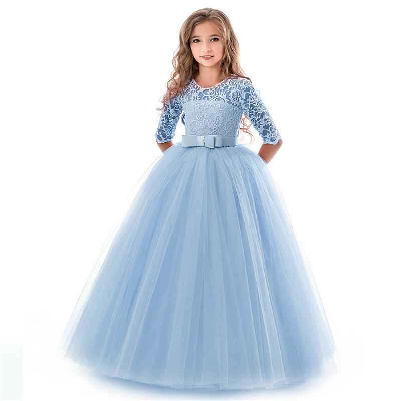 High Quality Lace Princess Dress Girl Wedding Gown Long Party Kids ...