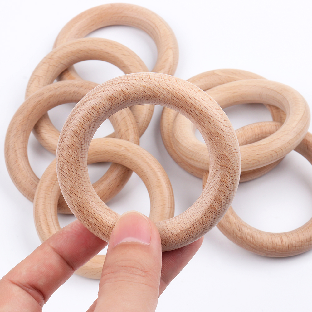 TYRY.HU 5pc Wooden Teether 70MM Hight Quality Natural Beech Wood Materail Safe For Teething Baby Nurse Gift Rattle Accessories