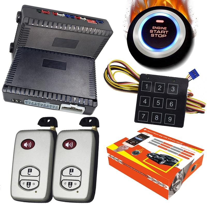 Kit d'alarme de voiture Anti-vol anglais russe et portugais de haute qualité avec arrêt de démarrage du moteur à distance et arrêt de démarrage par bouton-poussoir