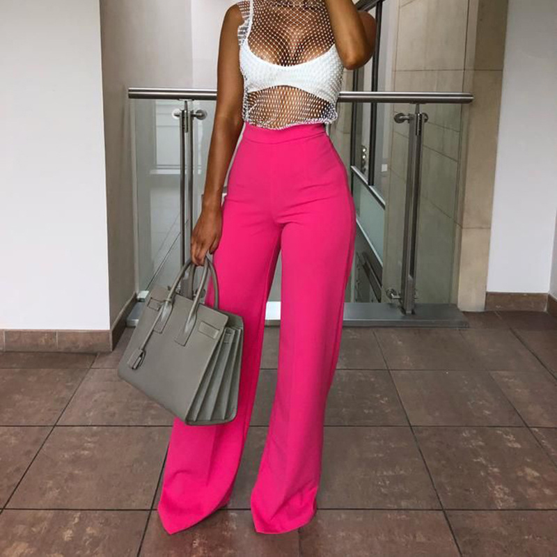Missufe High Waist Straight Long   Pants   Women Solid Spring Summer Full Trousers Casual Sexy Elegants Office Lady   Pant   Slim   Capris