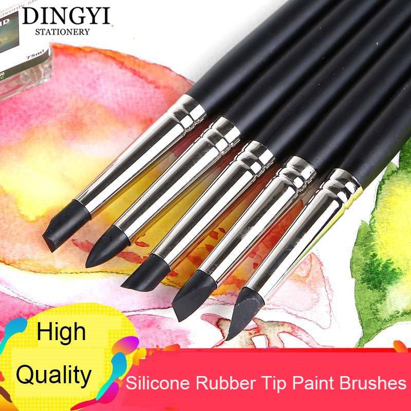 5pcs Silicone Rubber Tip Paint Brushes For Watercolor Oil Painting Polymer Clay Sculpting Fimo Modelling Tools Art Supplies