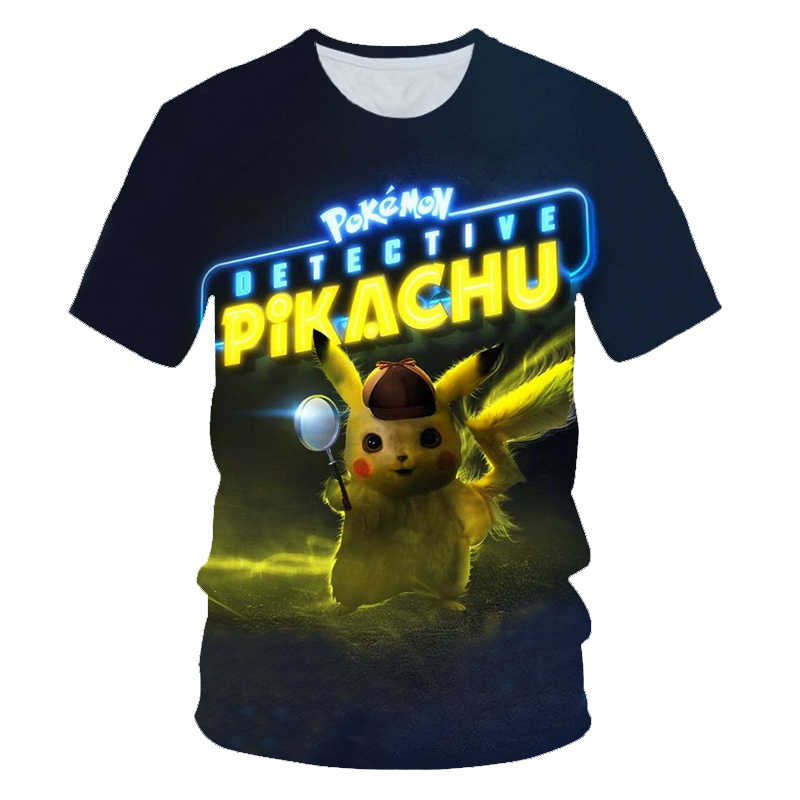 Распродажа, новые детские футболки с 3D-принтом «Pokemon Detective Pikachu» модные футболки с короткими рукавами для мальчиков и девочек, tshir